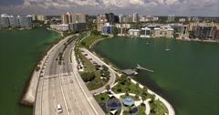 Aerial of Buildings & Bridge In Sarasota's Historic District Downtown Stock Footage