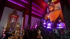 Buddhas lit with color lights in Wat Pha Khao , Chiang Mai, Thailand. Stock Footage