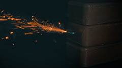 Lit fuse, fire comes to TNT charge and there is an explosion. Slow mo, slo mo Stock Footage