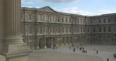 Louvre Palace and walking tourists Stock Footage