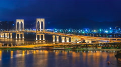Macau Bridge Time Lapse Night Cityscape Of Macau City China (pan 2 Shot) Stock Footage