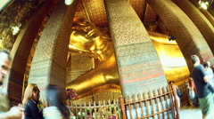 View of the statue inside of Wat Pho in Bangok Stock Footage