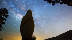 Astro Time Lapse of Milky Way over Monolith & Tree in Joshua Tree -Long Shot- - stock footage