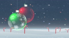 Christmas ornaments in snow Stock Footage