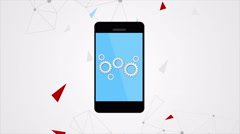 Smartphone communication video clip with gears - stock footage