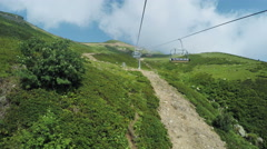 Lifts in mountains in summer - stock footage