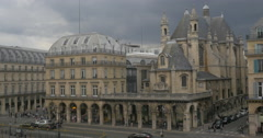 Street with old building in Paris Stock Footage