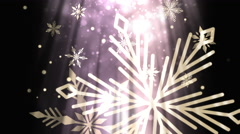 Animated Christmas snowflakes with light rays Stock Footage