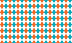 Abstract geometric seamless pattern of rhombus in blue, orange and white colo - stock illustration