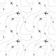 Airline routes with planes on white, seamless pattern Stock Illustration