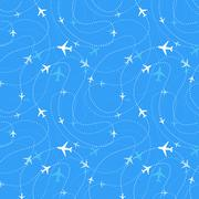 Airline routes with planes in blue skies, seamless pattern Stock Illustration