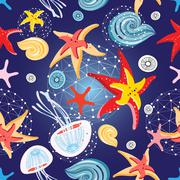 Pattern of starfish and jellyfish Stock Illustration