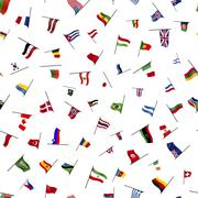 Many flags on a pole, seamless pattern Stock Illustration