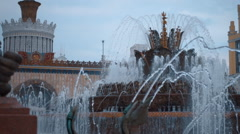 "Fountain ""Stone Flower"" in Moscow at VDNH. Slow mo, slo mo Stock Footage"