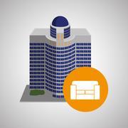 Hotel design. travel icon. Isolated and flat illustration Stock Illustration