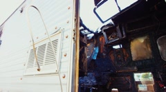 Destroyed Motorhome fire damage Stock Footage