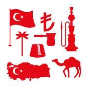 Turkey symbol set. Turkish national icon. State traditional sign. Map and fla Stock Illustration