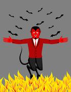 Red Devil in hell. Funny demon and bat. Satan with horns. Crafty Mephistophel - stock illustration