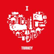 I love Turkey. Sign heart of traditional Turkish folk characters. Map and fla - stock illustration