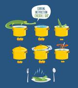Crocodile Soup on cooking instruction. Step-by-step cooking delicacy. Bouillo Stock Illustration