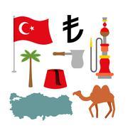 Turkey symbol set. Turkish national icon. State traditional sign. Map and fla - stock illustration