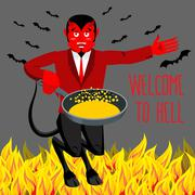 Welcome to Hell. Devil holding frying pan for sinners. Satan invites in purga Stock Illustration