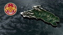 Lhuntse with Coat Of Arms Animation Map Stock Footage