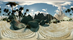 panoramic of palms in desert timelapse. made with the One 360 degree lense - stock footage