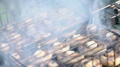 Mushrooms on barbecue grill Stock Footage