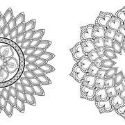 Black and White Mandale icon. Bohemic design. Vector graphic Stock Illustration