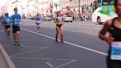 People running on city marathon Stock Footage
