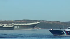 RUSSIA. Day of the Navy. Floats the boat of the coast guard. Stock Footage