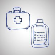 Medical care design. sketch  icon. Flat illustration Stock Illustration