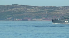 SEVEROMORSK, RUSSIA. At Bay swims minesweeper. Stock Footage