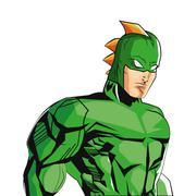 Comic style male superheroe with green uniform icon Stock Illustration