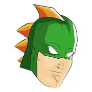comic style male superheroe with green mask and orange thorns icon - stock illustration
