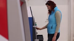 Woman near Cash Machine Stock Footage