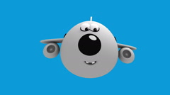Cartoon Airplane sequence with alpha matte - stock footage