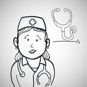 medical care design. nurse icon. flat illustration - stock illustration