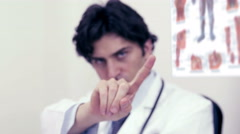 Young doctor denied to do something- hand gesture to say no Stock Footage