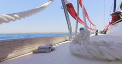 Detail of sails boat from bottom point of view. Marine rope. Stock Footage