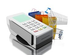 3d Card reader with shopping cart and bags. Piirros