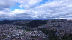 Flying to the Left over Old Town Quito Stock Footage