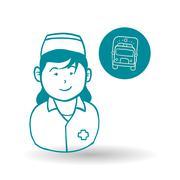 Medical care concept. Nurse icon. White background - stock illustration
