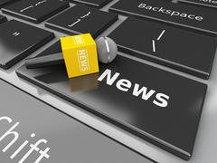 3d News microphone and computer keyboard with word News. - stock illustration