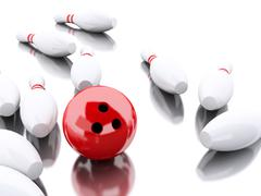 3d Bowling pins and red ball making a strike. Stock Illustration