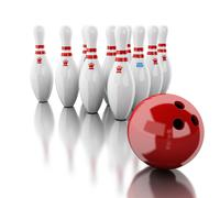 3d Bowling pins and red ball. Stock Illustration