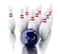 3d Bowling pins and blue ball - stock illustration