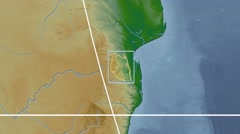 Swaziland - 3D tube zoom (Kavrayskiy VII projection). Bumps shaded Stock Footage
