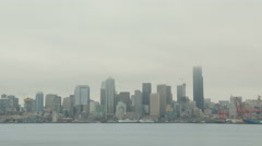 Gray Seattle, City, Skyline, Harbor Time Lapse Stock Footage